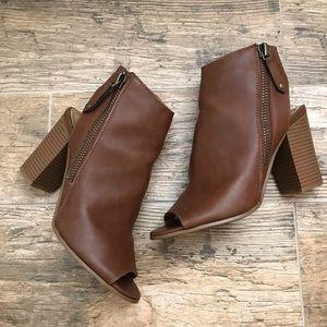Madden girl brown zipper booties size 8
